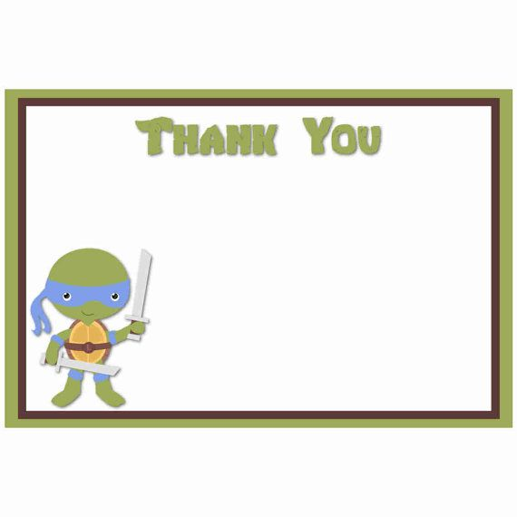 Teenage Mutant Ninja Turtle Digital Note Card ~ NON-PERSONALIZED Birthday Thank You Card, TMNT Thank You Notes, Birthday Party Supplies,
