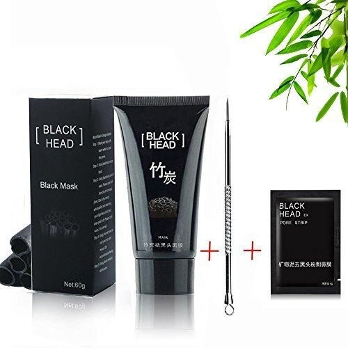 Blackhead Mask Blackhead Remover Nose Mask Facial Blackhead Remover Tearing style Deep Cleansing Purifying Peel off the BlackheadNatural Bamboo Charcoal Acne TreatmentBlack Mud Face Mask 60g