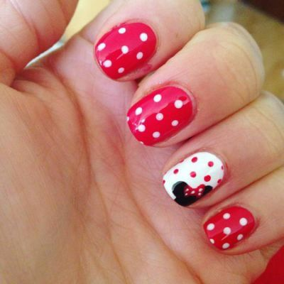 14+ Minnie Mouse Nail Art Designs,