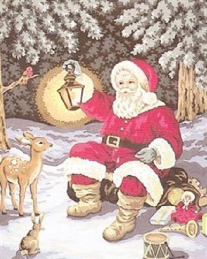 Woodland Santa & Friends Tapestry Canvas - 40cm x 50cm - Collection D'Art