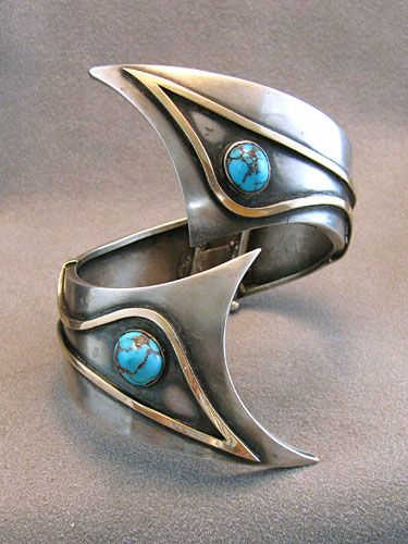 Bracelet | George Brooks. Sterling silver, gold and turquoise. ca. 1960