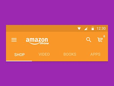 Showing the search functionality for a redesign of the Amazon mobile app using Google's Material Design.