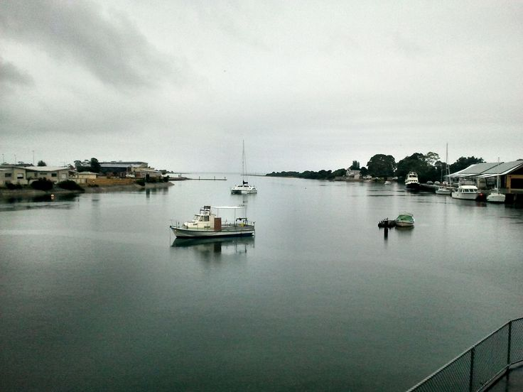 Looking to the North along the Leven River at Ulverstone, Tasmania