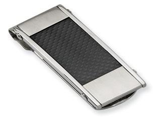 Men's Stainless Steel Black Carbon Fiber Money Clip Holder Available Exclusively at Gemologica.com