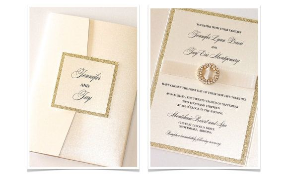 """Jennifer"" Pocketfold Crystal Buckle Wedding Invitation with Gold Glitter by EmbellishedPaperie on Etsy, $10.75"