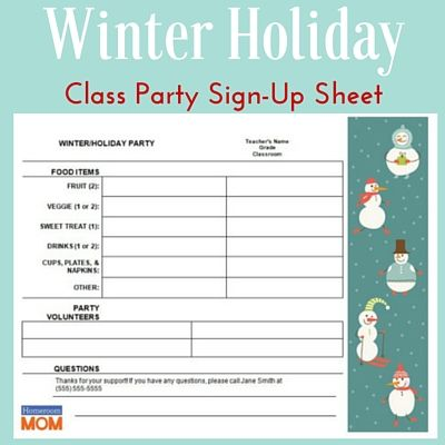 Downloadable handy Winter Holiday Party sign-up sheet to make sure you get everything you need.