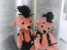 2 Häkelanleitung für Punker oder Rocker Schweinchen oder Bärchen, ca. 20 - 25 cm