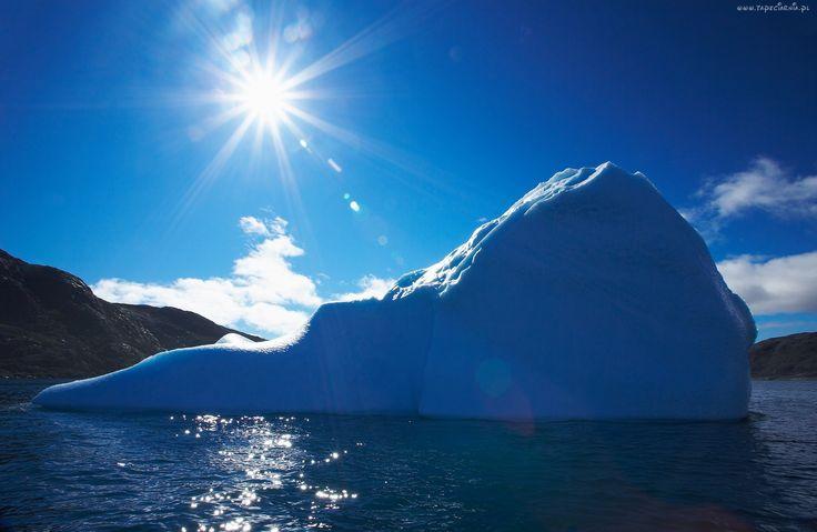 Góra, Lodowa, Słońce, Morze