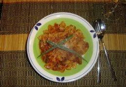 Pasta met champignons, tomaat en gehakt