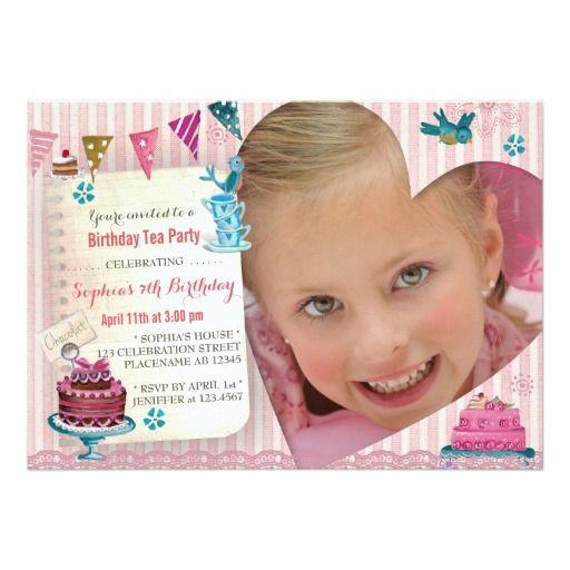253 best tea party birthday invitations images on pinterest tea birthday tea girl heart photo party invitation stopboris Gallery