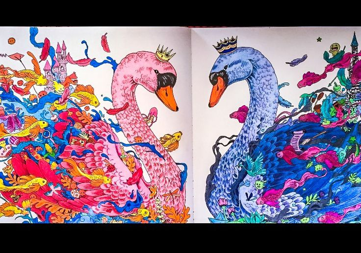 #imagimorphia #Kerby Rosanes #male and female swans #adult colouring