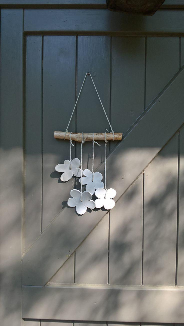 Artisan ceramic flower wall hanging – White wall hanging – interior decor – garden decor – driftwood hanging