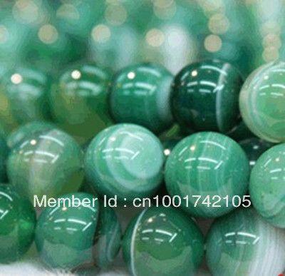 Мини порядка 12 USD, 10мм Природные зеленые полосы Агат Оникс Gem Loose бусы 38 шт / много ювелирных изделий способа ювелирных изделий шариков чая $4.59