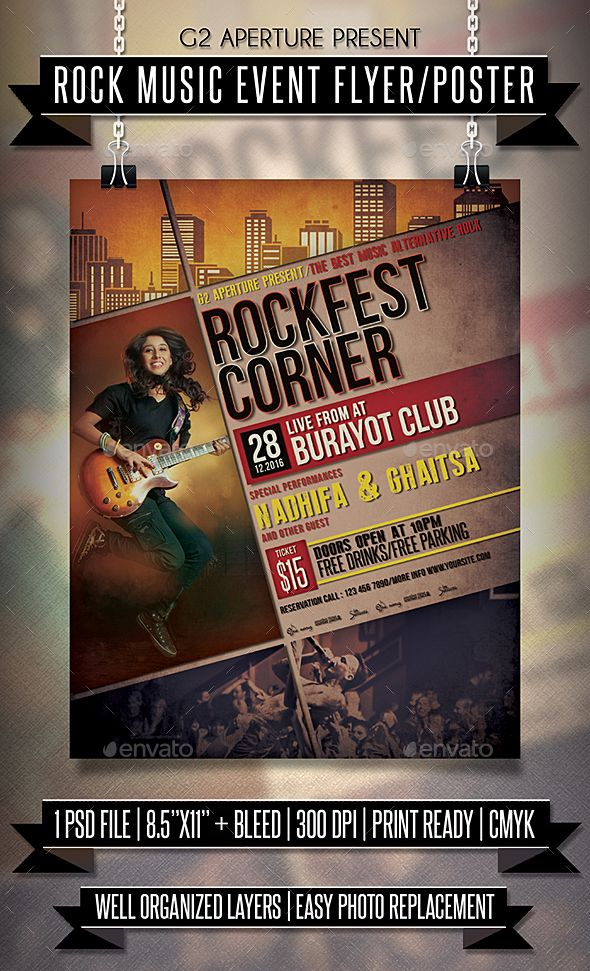 rock music event flyer poster fonts logos icons pinterest