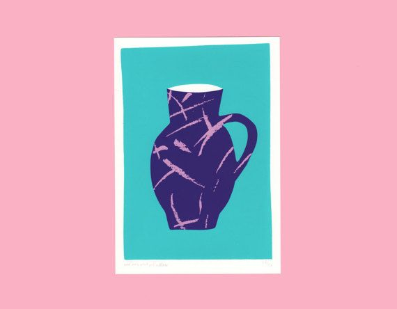 A screen print of a purple vase with pink by weareoutofoffice