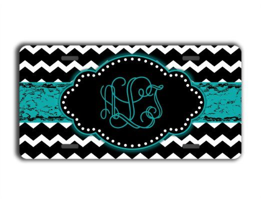 Chevron monogrammed license plate - Black and white chevron with teal - personalized car tag front license plate monogram