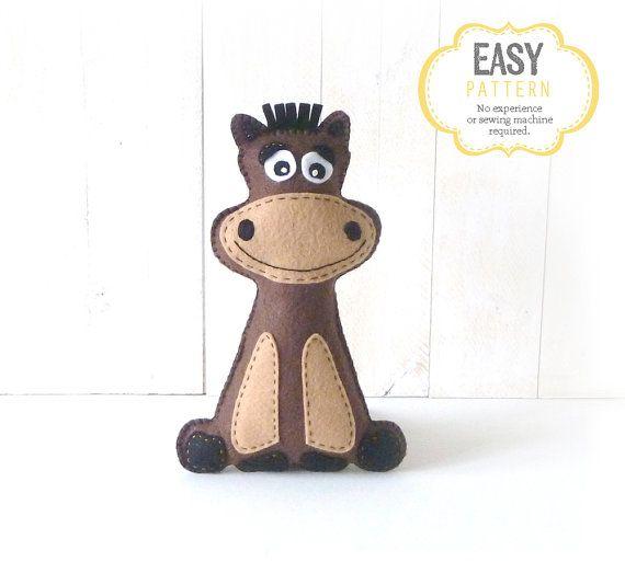 Stuffed Horse Sewing Pattern Plush Horse by LittleHibouShoppe