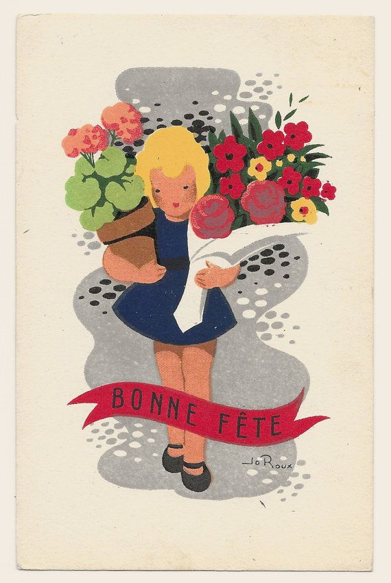 French Happy Birthday Postcard c. 1960 by GatherAntiques on Etsy