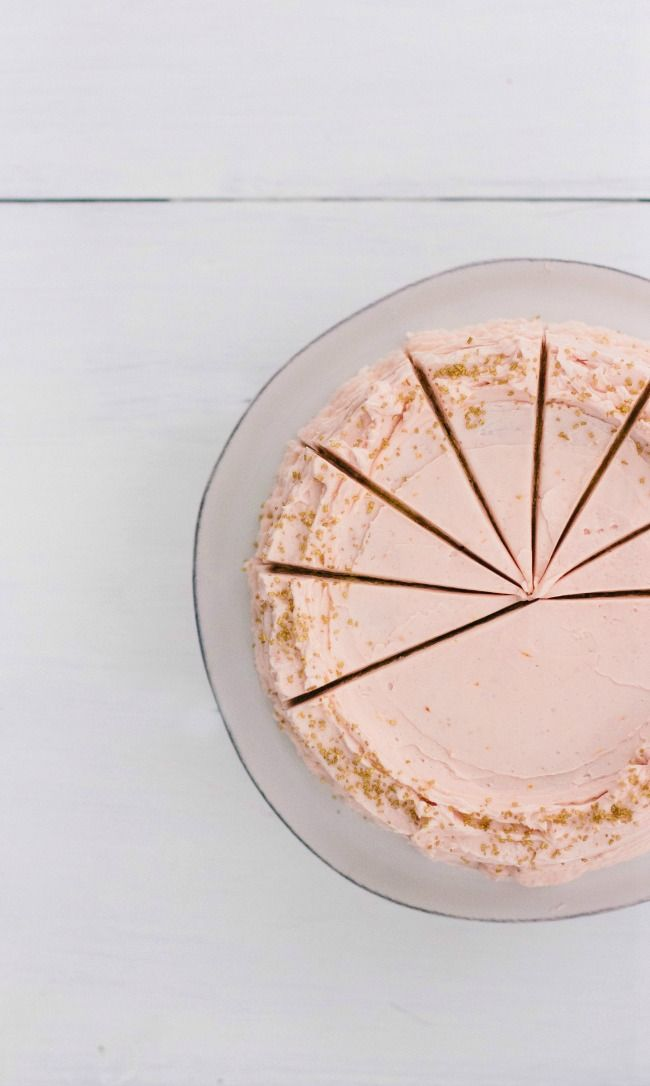 Buttermilk cake with blood orange frosting