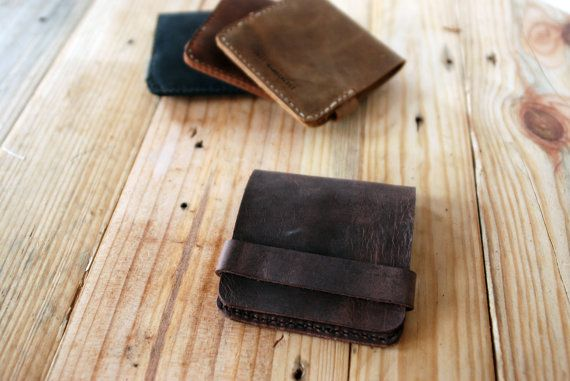 Simple wallet. Dark brown leather wallet for men. Space for credit cards and bills. Mens wallets. Slim wallet. WALL002. $56.00, via Etsy.