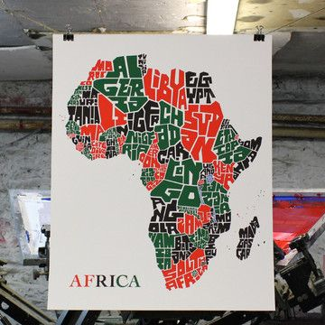 African Countries Map 16x20  by The Metalbox Design Group