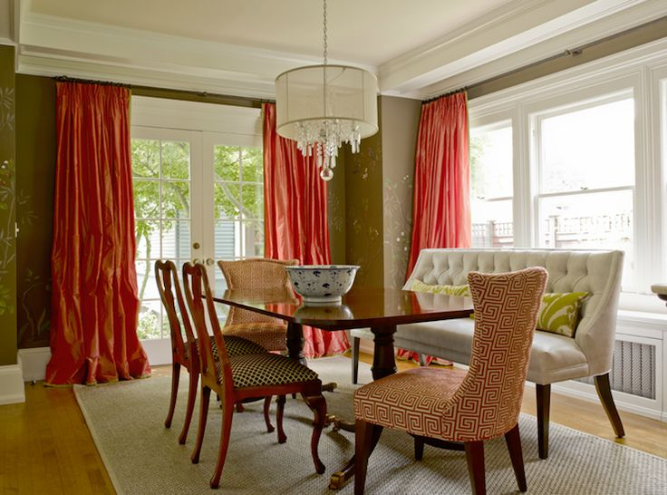 Salmon Pink Silk Curtains Covering French Doors Chocolate Brown Walls Paint Color Ivory Tufted Eclectic Dining RoomsDining Room ModernElegant