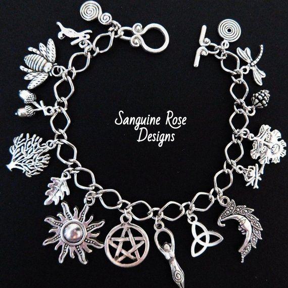 Fully Loaded Charm Bracelet Witch Bracelet Wicca Silver Charm Bracelet AMETHYST PAGAN CHARM Bracelet