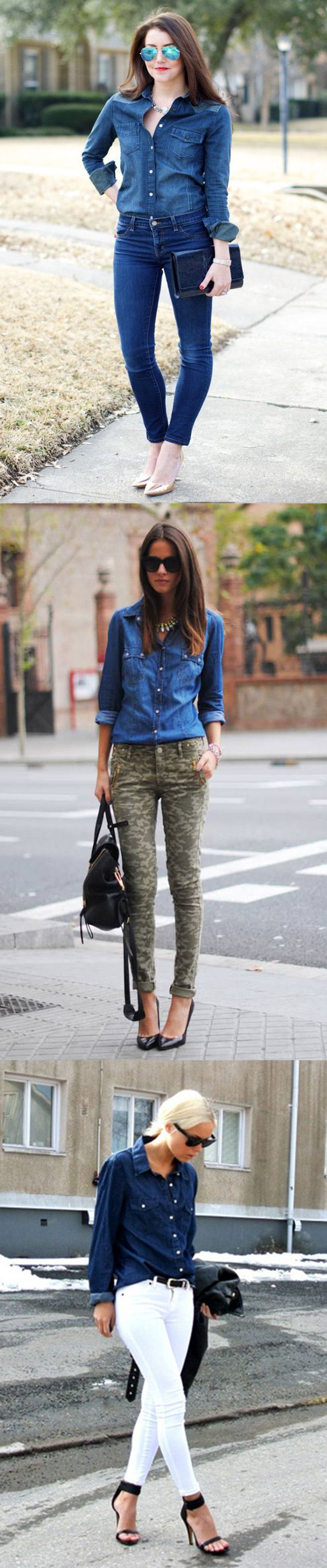 Stylish ways to wear a dark denim shirt! #fashion