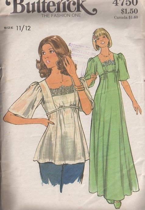 MOMSPatterns Vintage Sewing Patterns - Butterick 4750 Vintage 70's Sewing Pattern DREAMY Bohemian Lace Trim, Bell Sleeve, Tie Back Smock Top Gauze Blouse, Long Disco Prom Dress