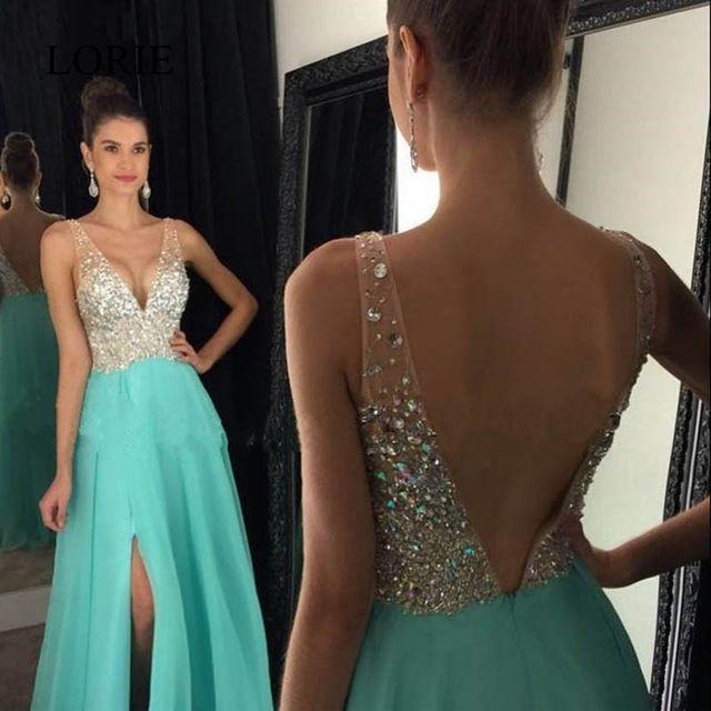 Tienda Online Cristales verde menta vestidos de baile 2017 robe de soirée backless un line longchiffon vestidos del partido backless vestidos de noche formales | Aliexpress móvil