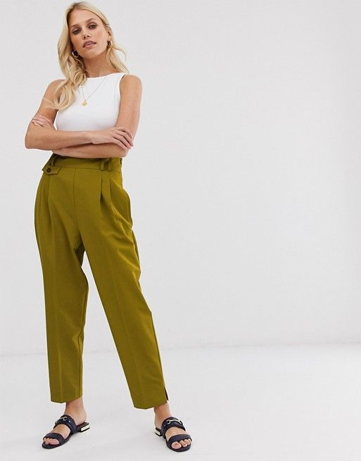 DESIGN tailored smart high waist balloon pants