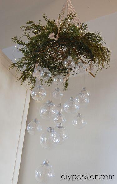 diy clear ornament hanging chandelier, christmas decorations, lighting, seasonal holiday decor