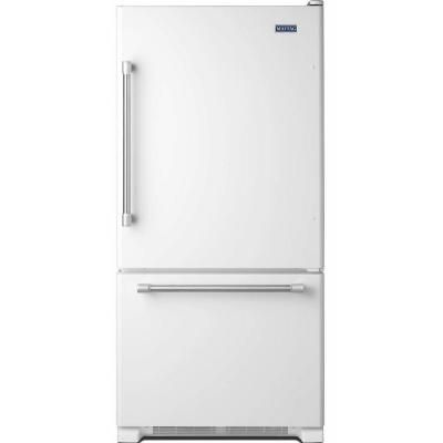 Maytag 30 in. W 18.7 cu. ft. Bottom Freezer Refrigerator in White with Stainless Steel Handles-MBF1958DEH at The Home Depot