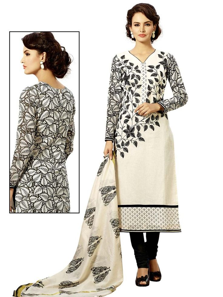 Admirable off white color #Chanderi cotton kurta with resham work. Item code ; SLHD76018 http://www.bharatplaza.com/new-arrivals/salwar-kameez.html