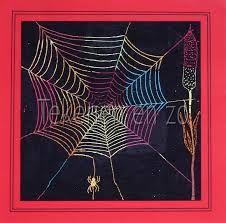 tekenen - gekleurde spinnenwebben