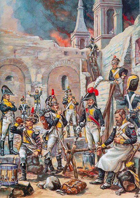 Polish; Vistula Legion Infantry in Saragossa, Spain by Patrice Courcelle & Jack Gibral