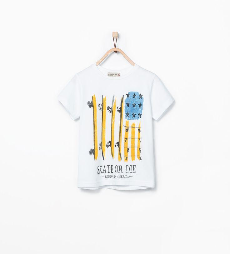 T - shirt avec un drapeau des États - Unis imprimé - Nouveautés - Garçon - COLLECTION AW15   ZARA France