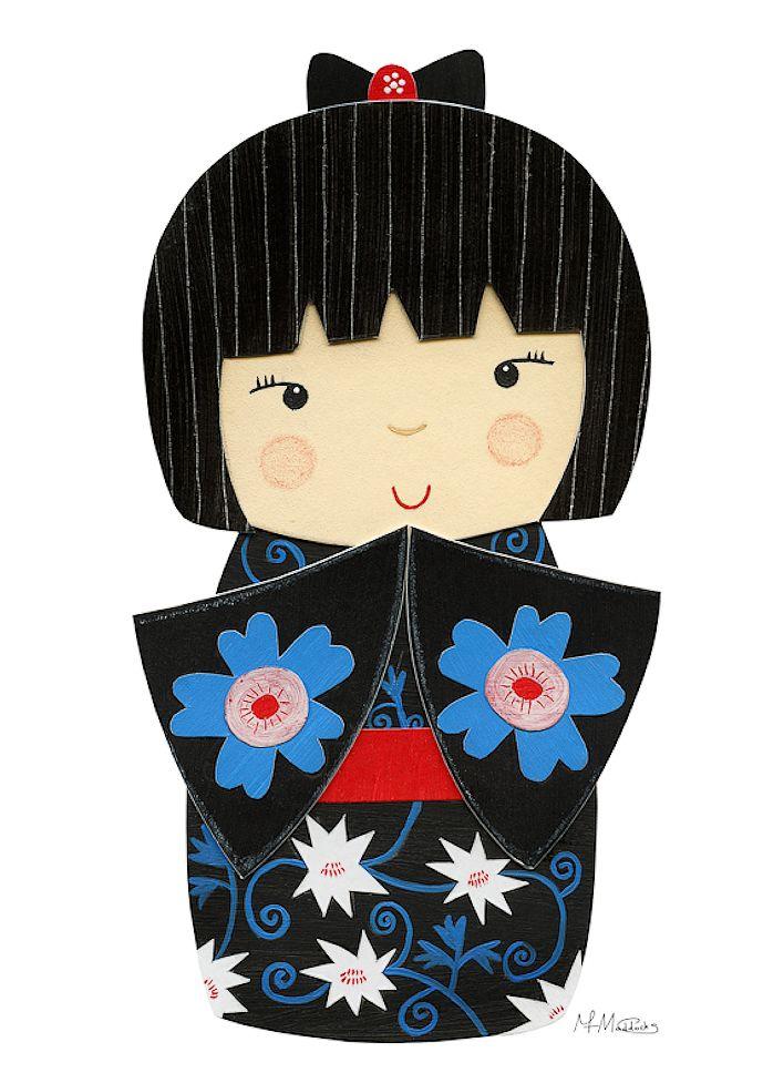 Kokeshi Doll Art #japanese #doll #Kokeshi
