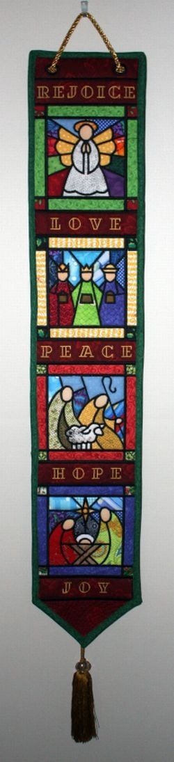 Advent Bell Pull / Banner appliqued and machine embroidered in the hoop Download designs now and make one for yourself and one for your church