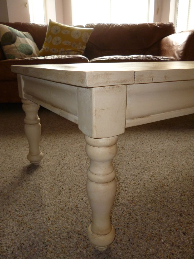 Pine coffee table in Annie Sloan old ochre
