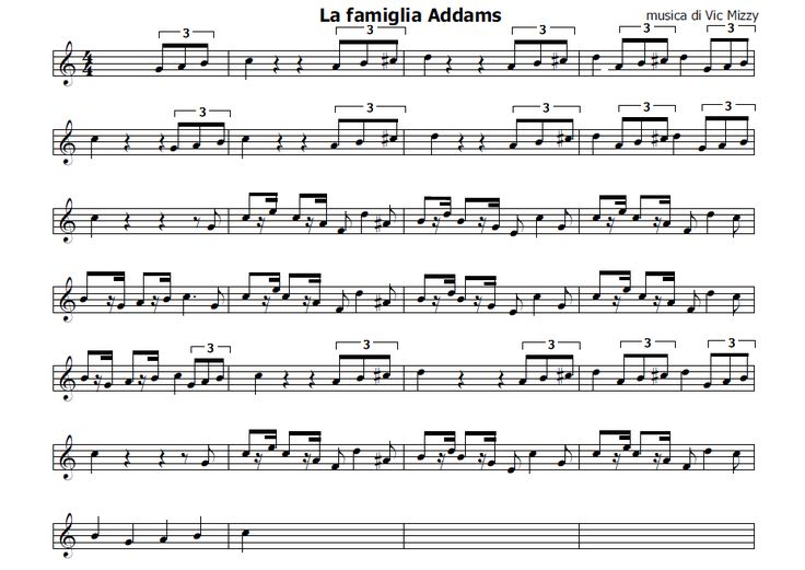 Musica e spartiti gratis per flauto dolce: La Famiglia Addams