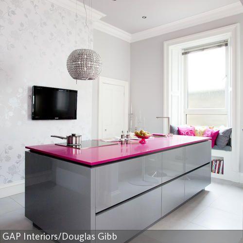 arbeitsfl che in pink k che pinterest arbeitsfl chen. Black Bedroom Furniture Sets. Home Design Ideas