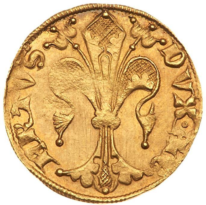 Austria, Duchy, Albert II (1330-86), gold Gulden Duchy, Albert II (1330-86), gold Gulden. Judenburg, DVX ALBERTVS, ornate lily of Florence, S IOHANNES B, St John the Baptist standing, mintmark coat-of-arms at end of legend, 3.52g (Fr 1; CNA 1 E1). Well struck on a well-prepared flan showing original die polishing lines, toned about uncirculated. Estimated Value $2,000 #Coins #Gold #MADonC