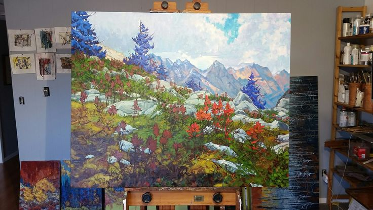 And finaly secondary and primary colours in the last stage with touch of complementary.  #colour #art #Canadianartists #canadianart #mountains #Banff