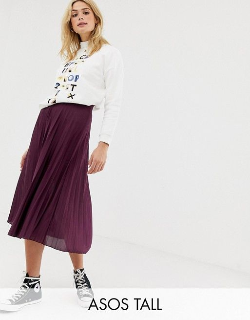 cdbc927ca74e2b ASOS DESIGN Tall pleated midi skirt in jersey crepe | ASOS Fashion Online,  Skirts,