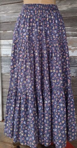 Vintage Laura Ashley RARE Long Floral Tiered Prairie Skirt Size S