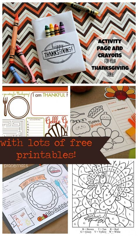 how to fold an activity page to hold crayons with links to lots of free printables perfect for Thanksgiving!