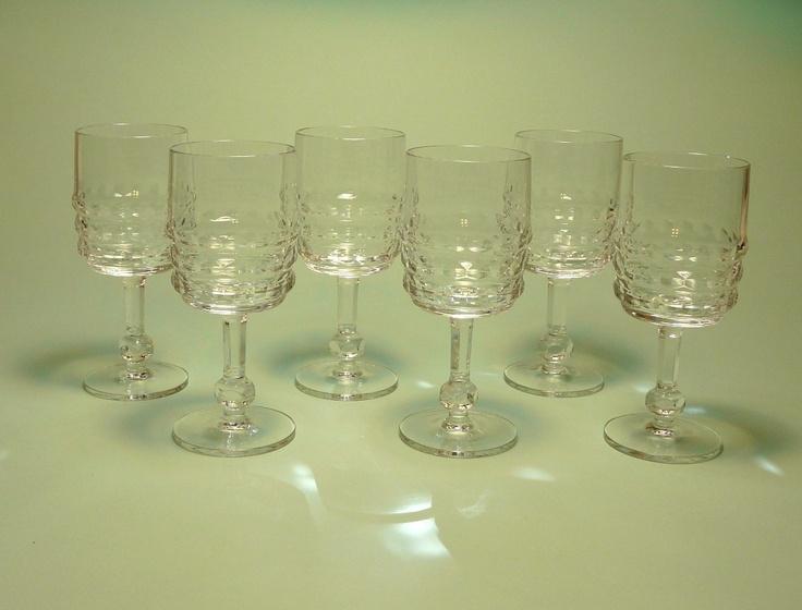 Midcentury Modern Crystal Wine Glasses. $84.00, via Etsy.