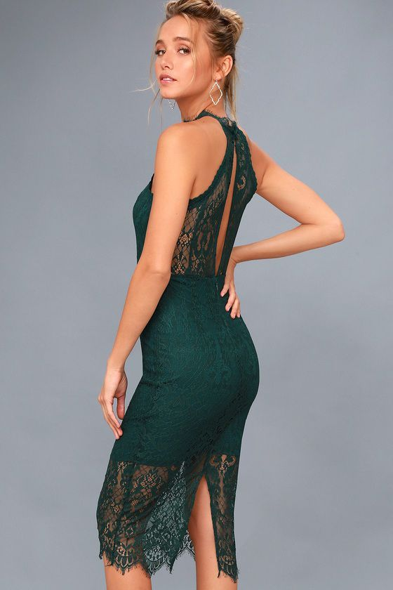 Lulus Exclusive! There is nothing more romantic than the Kiss Me at Midnight Forest Green Lace Halter Bodycon Midi Dress! Stunning eyelash lace creates a high, halter neckline, and sleeveless, princess-seamed bodice (trimmed with crochet lace). Fitted waist and bodycon midi skirt with kick pleat. Back keyhole (with top button) and hidden zipper/clasp.
