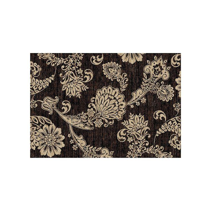Merinos Verona Paisley Flower Rug, Black